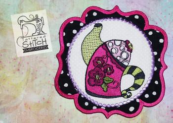 Whimsical Teapot 1 In the Hoop Mug Rug - Machine Embroidery Designs