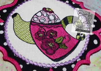 Whimsy Teapot 1 - Mug Rug-Coaster - Embroidery Designs