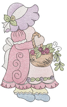 "Sunbonnet Sue 6 -  Fits a 4x4"" 5x7"" & 6x10"" Hoop - Machine Embroidery Designs"