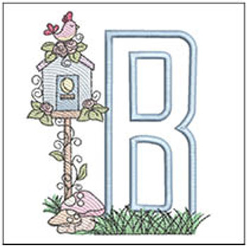 "Birdhouse Applique ABCs - B - Fits a 5x7"" Hoop - Machine Embroidery Designs"