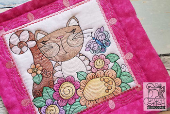"Whimsical Cat Quilt Block Bundle - Fits a  4x4"", 5x5"", 6x6"", 7x7"", 8x8"" & 10x10""  Hoop - Machine Embroidery Designs"