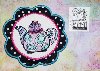 Whimsical Teapot 2 In the Hoop Mug Rug - Machine Embroidery Designs