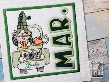 "March Gnome Quilt Block -  Fits a   6x6"", 7x7"", 8x8"" & 10x10""  Hoop - Machine Embroidery Designs"