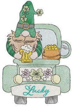 "Clover Gnome -  Fits a   4x4"", 5x7"" & 6x10""   Hoop - Machine Embroidery Designs"