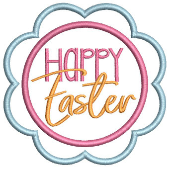 """Happy Easter Coaster - Fits a 4x4""""  Hoop - Machine Embroidery Designs"""