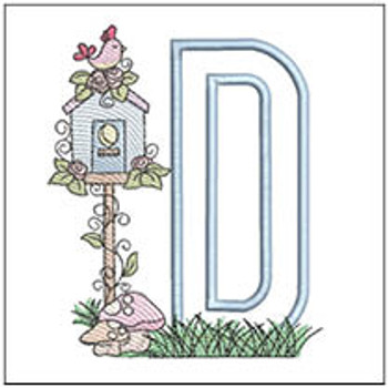 "of Birdhouse Applique ABCs - D - Fits a 5x7"" Hoop - Machine Embroidery Designs"