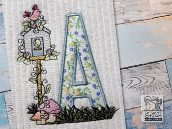 "Birdhouse Applique ABCs - E - Fits a 5x7"" Hoop - Machine Embroidery Designs"