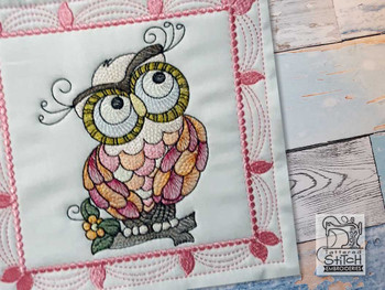 """Whimsical Owl Quilt Block #3 - Fits a  4x4"""", 5x5"""", 6x6"""", 7x7"""", 8x8"""" & 10x10""""  Hoop - Machine Embroidery Designs"""