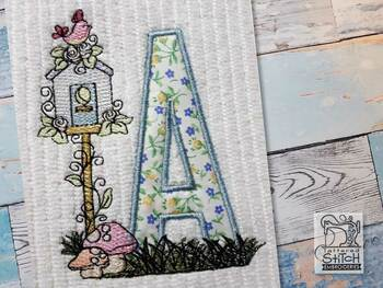 "Birdhouse Applique ABCs - F - Fits a 5x7"" Hoop - Machine Embroidery Designs"