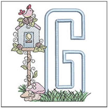 "Birdhouse Applique ABCs - G - Fits a 5x7"" Hoop - Machine Embroidery Designs"