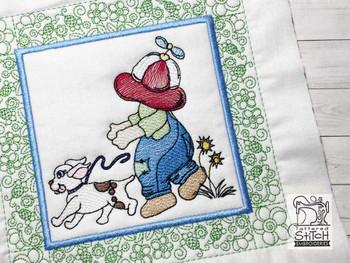 "Sunbonnet Sam Quilt Block 7 -  Fits a  5x5"", 6x6"", 7x7"", 8x8"" & 10x10""  Hoop - Machine Embroidery Designs"