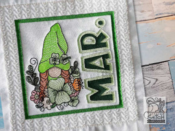 "March Gnome 2 Quilt Block -  Fits a   6x6"", 7x7"", 8x8"" & 10x10""  Hoop - Machine Embroidery Designs"