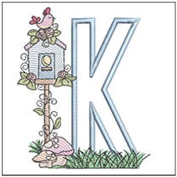 "Birdhouse Applique ABCs - K - Fits a 5x7"" Hoop - Machine Embroidery Designs"