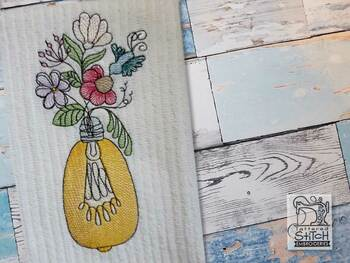 """Floral Lightbulb 3 - Fits into a 4x4"""",  5x7"""" & 6x10 Hoop - Instant Downloadable Machine Embroidery"""