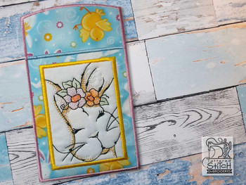 """Bunny Silverware Pouch - Fits a 5x7""""Hoop - Machine Embroidery Designs"""