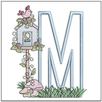 "Birdhouse Applique ABCs - M - Fits a 5x7"" Hoop - Machine Embroidery Designs"