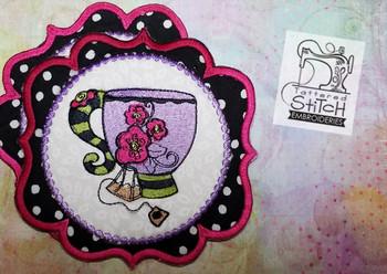 Whimsical Teapcup 1 In the Hoop Mug Rug - Machine Embroidery Designs