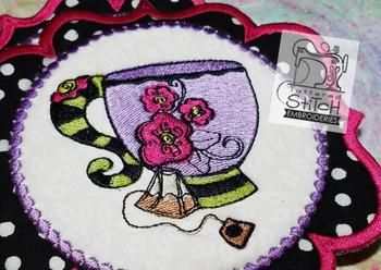 Whimsical Teacup 1 In the Hoop Mug Rug - Machine Embroidery Designs