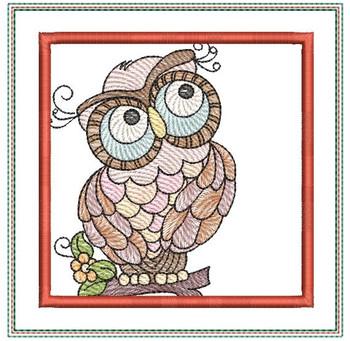 "Owl Mug Rug 2 - Fits a 5x7"" Hoop - Machine Embroidery Designs"