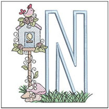 "Birdhouse Applique ABCs - N - Fits a 5x7"" Hoop - Machine Embroidery Designs"