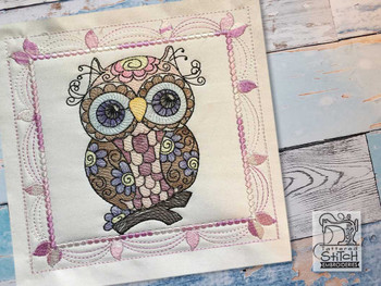 """Whimsical Owl Quilt Block #4 - Fits a  4x4"""", 5x5"""", 6x6"""", 7x7"""", 8x8"""" & 10x10""""  Hoop - Machine Embroidery Designs"""