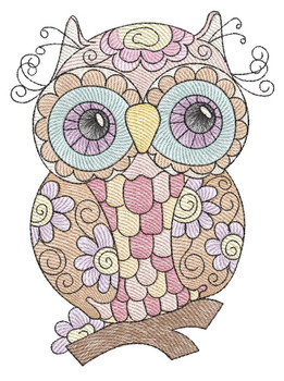 """Whimsical Owl 4 -  Fits a 4x4"""",  5x7"""" & 6x10"""" Hoop - Machine Embroidery Designs"""