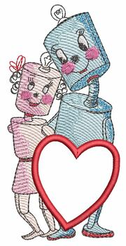 """Love Bots Applique -  Fits a 4x4"""" & 5x7""""  Hoop - Machine Embroidery Designs"""