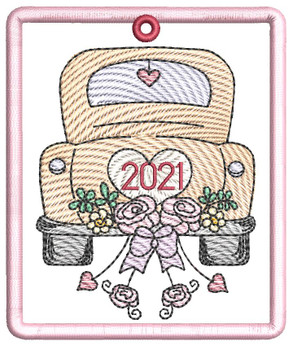 """Hitched 2021 Ornament -  Fits a 4x4"""" Hoop - Machine Embroidery Designs"""