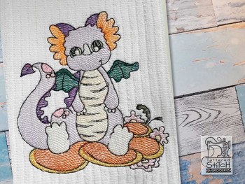 """Baby Dragon 6 - Fits into a 4x4"""", 5x7"""" & 8x8"""" Hoop - Instant Downloadable Machine Embroidery"""