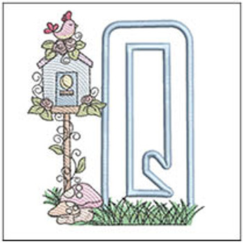 "Birdhouse Applique ABCs - Q - Fits a 5x7"" Hoop - Machine Embroidery Designs"