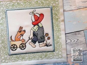 "Sunbonnet Sam Quilt Block 1 -  Fits a  5x5"", 6x6"", 7x7"", 8x8"" & 10x10""  Hoop - Machine Embroidery Designs"