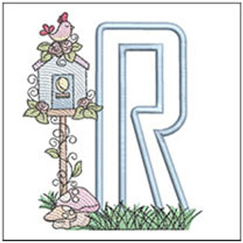 "Birdhouse Applique ABCs - R - Fits a 5x7"" Hoop - Machine Embroidery Designs"
