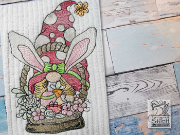 "Bunny Gnome in Basket -  Fits a   4x4"", 5x7"" & 6x10""   Hoop - Machine Embroidery Designs"
