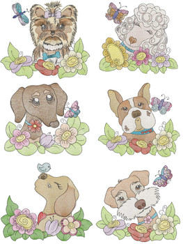 """Whimsical Pups Bundle (No Quilt Block Background) -Fits a  4x4"""", 5x7""""&  8x8"""" Hoop - Machine Embroidery Designs"""