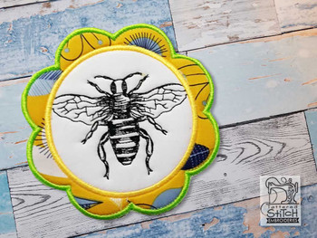 "Bee Coaster - Fits a 5x7""  Hoop - Machine Embroidery Designs"