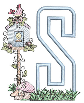 "Birdhouse Applique ABCs - S - Fits a 5x7"" Hoop - Machine Embroidery Designs"