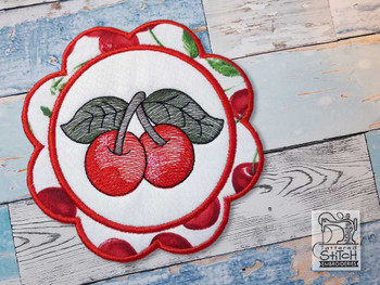 "Cherry Coaster - Fits a 5x7""  Hoop - Machine Embroidery Designs"