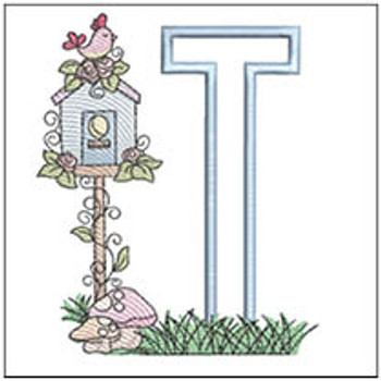 "Birdhouse Applique ABCs - T - Fits a 5x7"" Hoop - Machine Embroidery Designs"