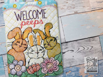 "Welcome Peeps Garden Flag - Fits  5x7, 6x10  and 8x12"" Hoop - Instant Downloadable Machine Embroidery"