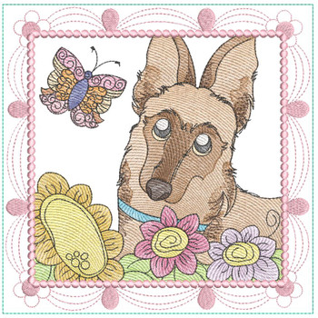 "Whimsical Dog Quilt Block #7 - Fits a  4x4"", 5x5"", 6x6"", 7x7"", 8x8"" & 10x10""  Hoop - Machine Embroidery Designs"