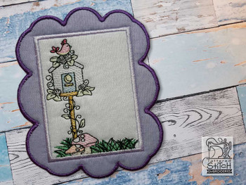 "Bird House Coaster - Fits a 5x7""  Hoop - Machine Embroidery Designs"