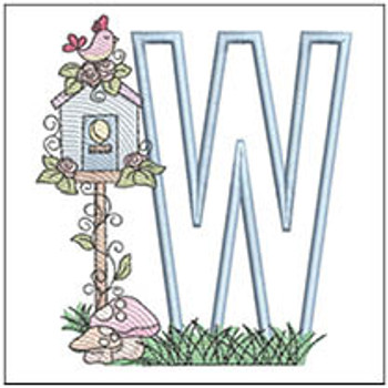 "Birdhouse Applique ABCs -W - Fits a 5x7"" Hoop - Machine Embroidery Designs"
