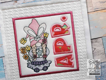 "April Gnome Quilt Block -  Fits a   6x6"", 7x7"", 8x8"" & 10x10""  Hoop - Machine Embroidery Designs"