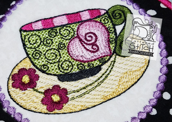 Whimsy Teacup 3 - Close Up - Machine Embroidery Design