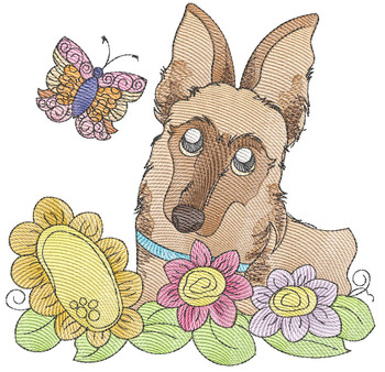 """Whimsical Pup 7 (No Quilt Block Background) -Fits a  4x4"""", 5x7""""&  8x8"""" Hoop - Machine Embroidery Designs"""