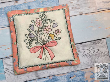 """Floral Bouquet 2 Coaster - Fits a 5x7"""" Hoop - Machine Embroidery Designs"""