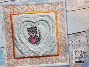"""Baby Heart 6 Chenille QB -  Fits a   6x6"""", 7x7"""", 8x8"""" & 10x10""""  Hoop - Machine Embroidery Designs"""