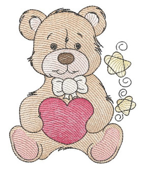 "Teddy Bear Hugging Heart - Fits into a 4x4"" & 5x7"" Hoop - Instant Downloadable Machine Embroidery"