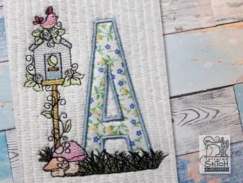 "Birdhouse Applique ABCs - Z - Fits a 5x7"" Hoop - Machine Embroidery Designs"