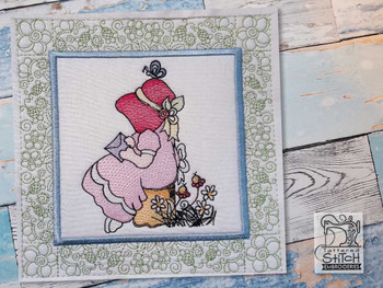 "Sunbonnet Sue Quilt Block 5 -  Fits a  5x5"", 6x6"", 7x7"", 8x8"" & 10x10""  Hoop - Machine Embroidery Designs"